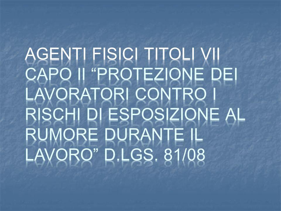 AGENTI FISICI TITOLI VII CAPO II Protezione dei lavoratori contro i rischi di esposizione al rumore durante il lavoro D.Lgs.