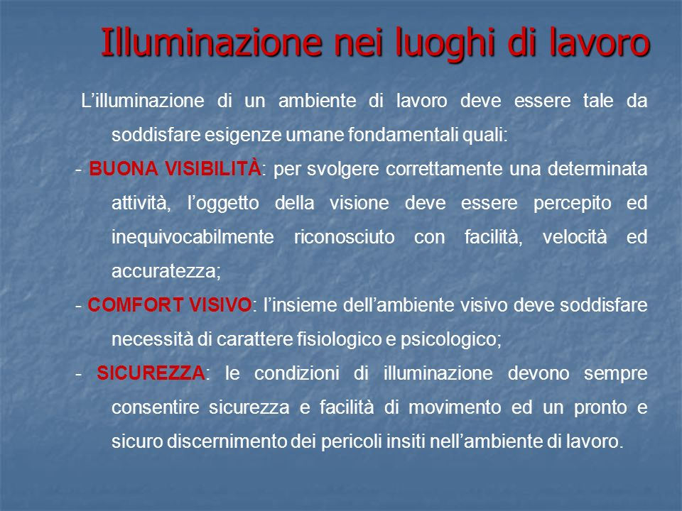 Illuminazione nei luoghi di lavoro