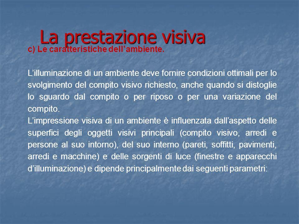 La prestazione visiva c) Le caratteristiche dell'ambiente.