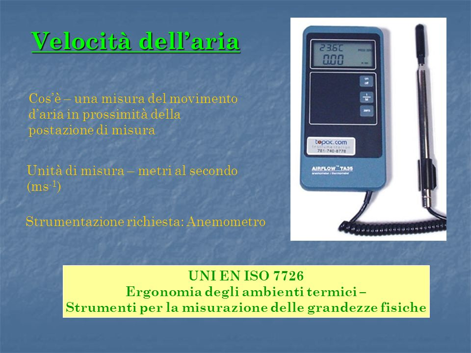 Velocità dell'aria Cos'è – una misura del movimento d'aria in prossimità della postazione di misura.