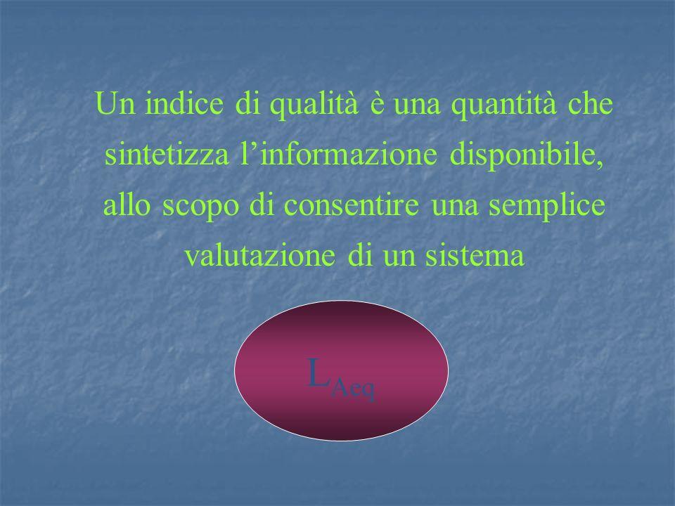 Un indice di qualità è una quantità che sintetizza l'informazione disponibile, allo scopo di consentire una semplice valutazione di un sistema