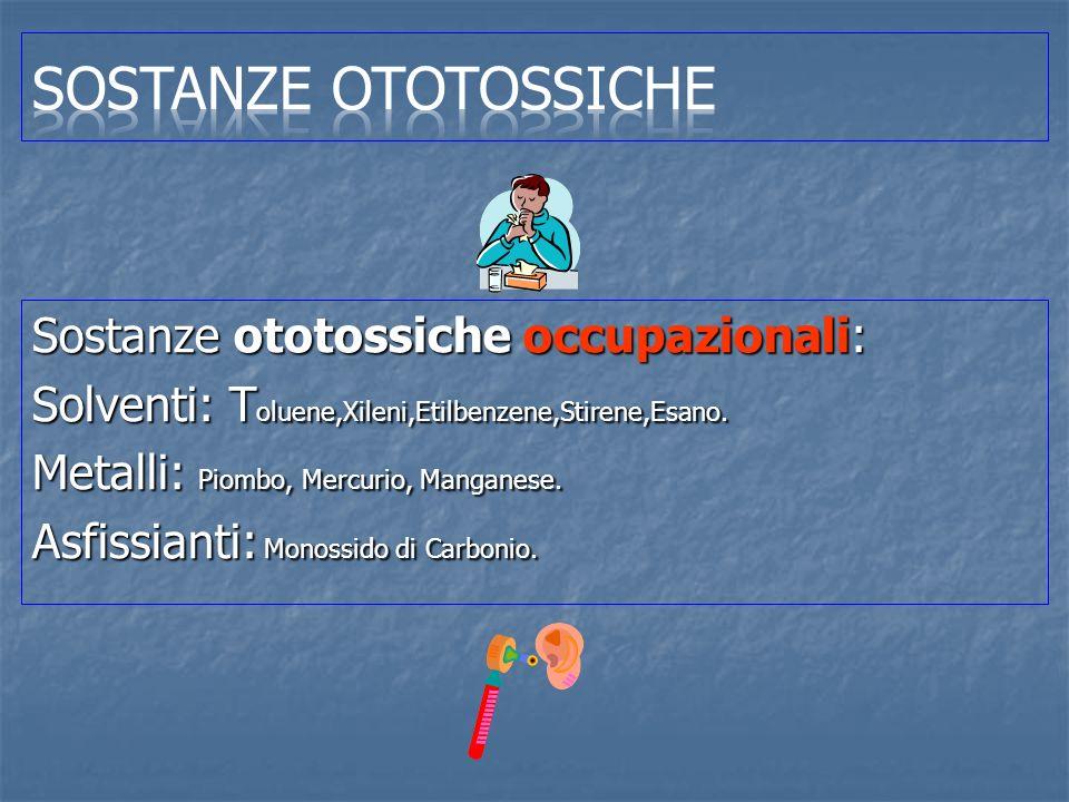 Sostanze Ototossiche Sostanze ototossiche occupazionali: