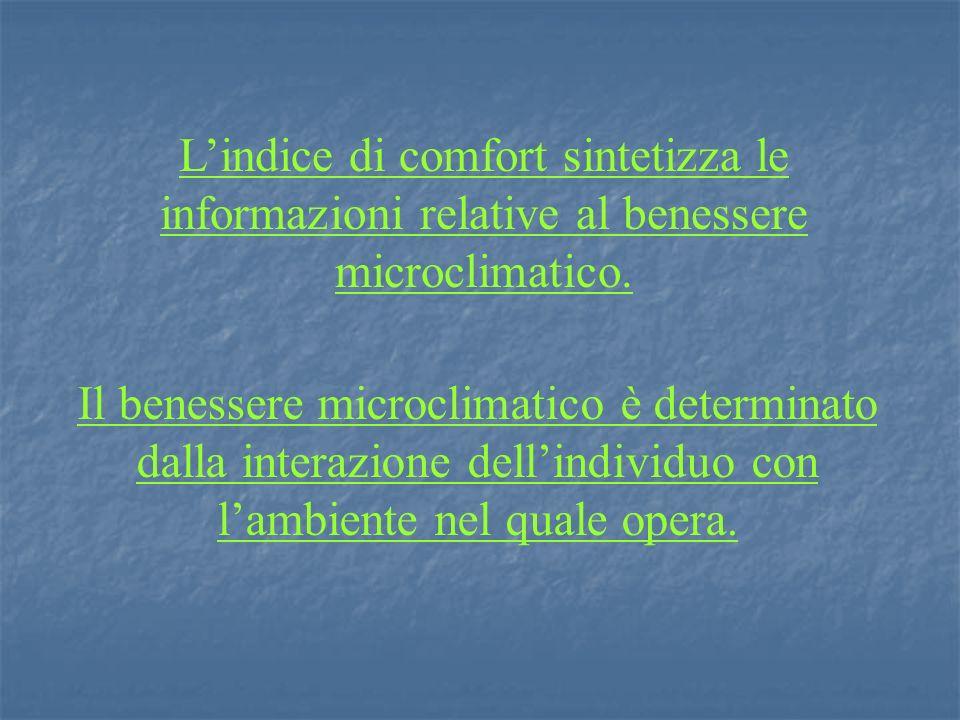 L'indice di comfort sintetizza le informazioni relative al benessere microclimatico.