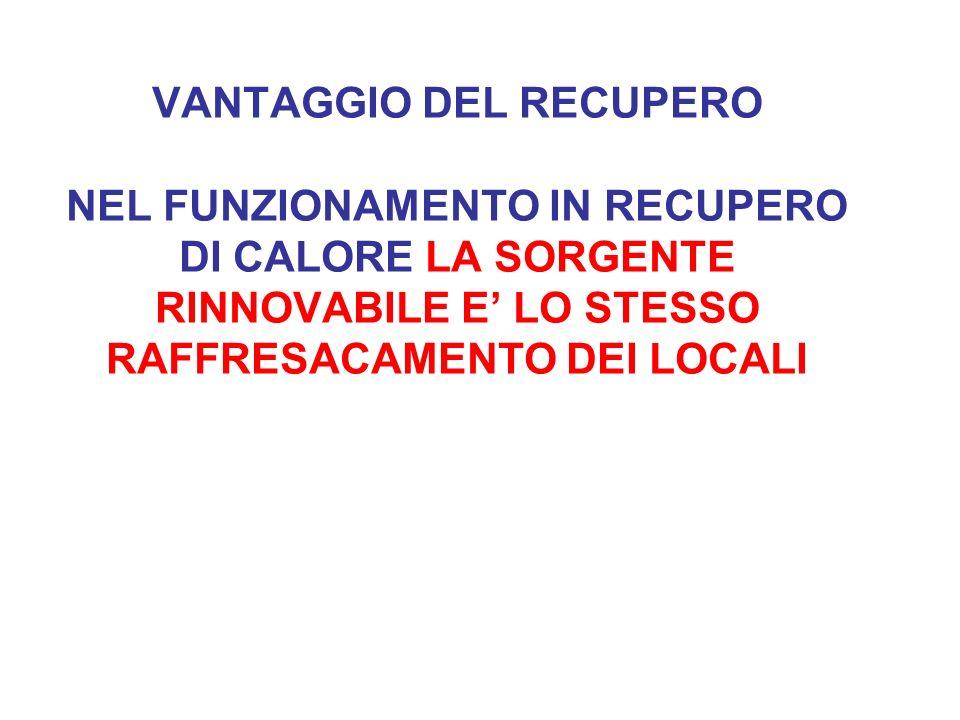 VANTAGGIO DEL RECUPERO NEL FUNZIONAMENTO IN RECUPERO DI CALORE LA SORGENTE RINNOVABILE E' LO STESSO RAFFRESACAMENTO DEI LOCALI