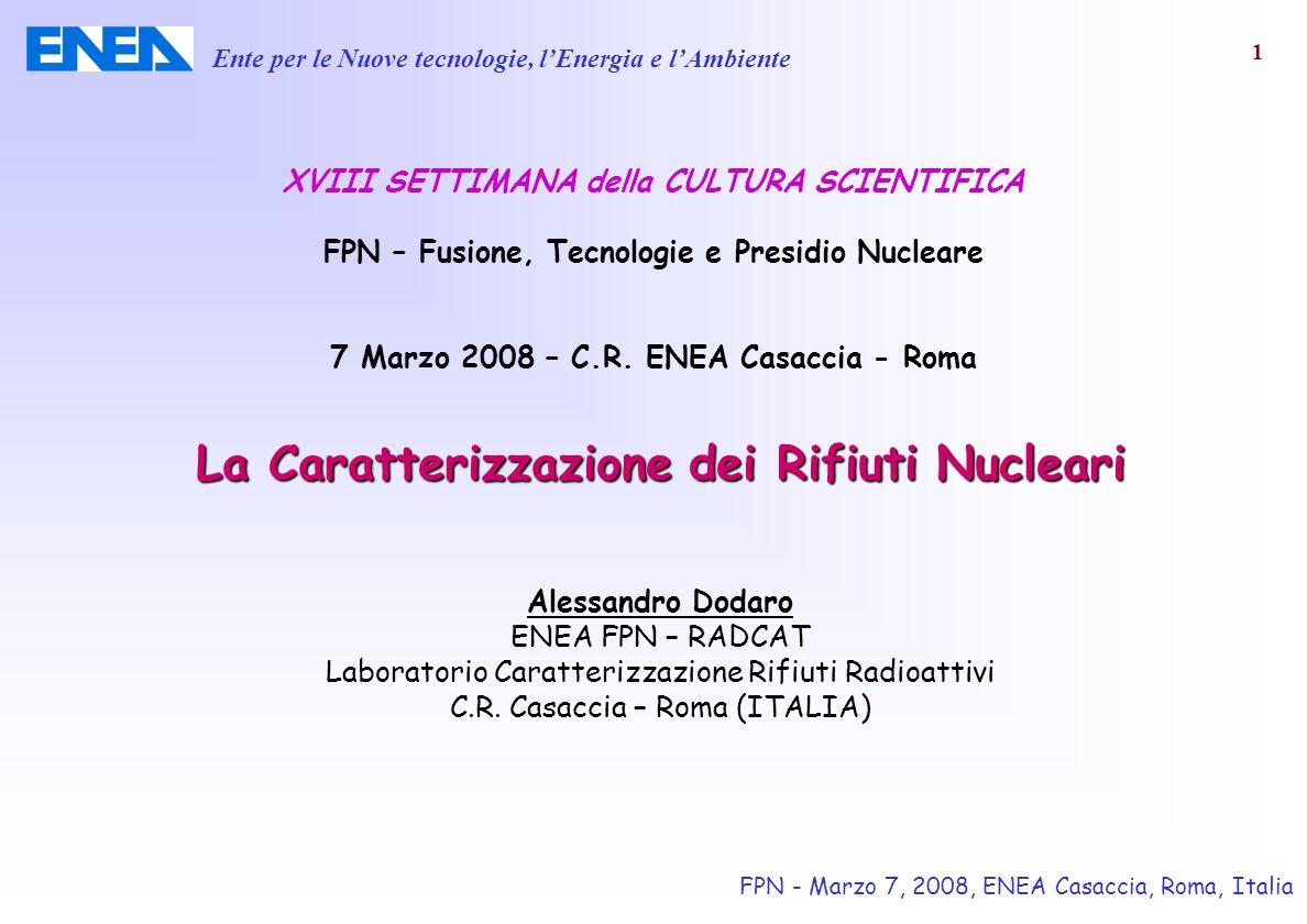 La Caratterizzazione dei Rifiuti Nucleari