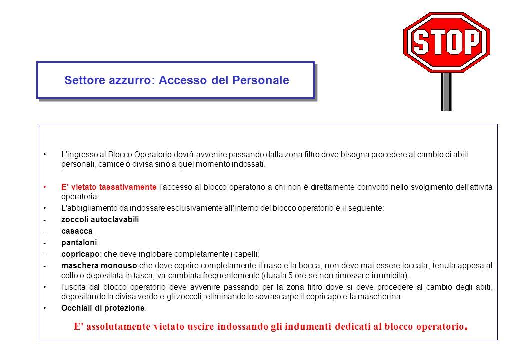 Settore azzurro: Accesso del Personale