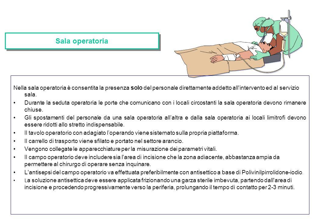 Sala operatoria Nella sala operatoria è consentita la presenza solo del personale direttamente addetto all intervento ed al servizio sala.
