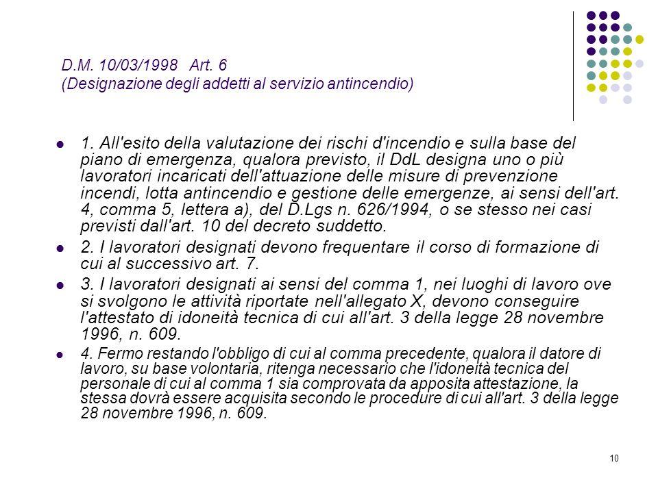 D.M. 10/03/1998 Art. 6 (Designazione degli addetti al servizio antincendio)
