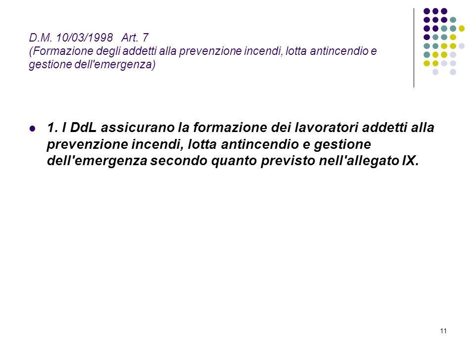 D.M. 10/03/1998 Art. 7 (Formazione degli addetti alla prevenzione incendi, lotta antincendio e gestione dell emergenza)