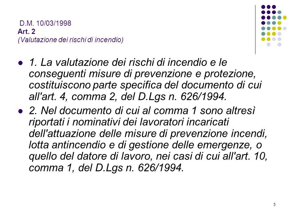 D.M. 10/03/1998 Art. 2 (Valutazione dei rischi di incendio)