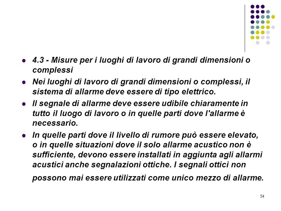4.3 - Misure per i luoghi di lavoro di grandi dimensioni o complessi