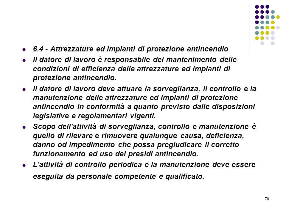 D.M. 10/03/1998 Allegato VI Controllo e manutenzione sulle misure di protezione antincendio