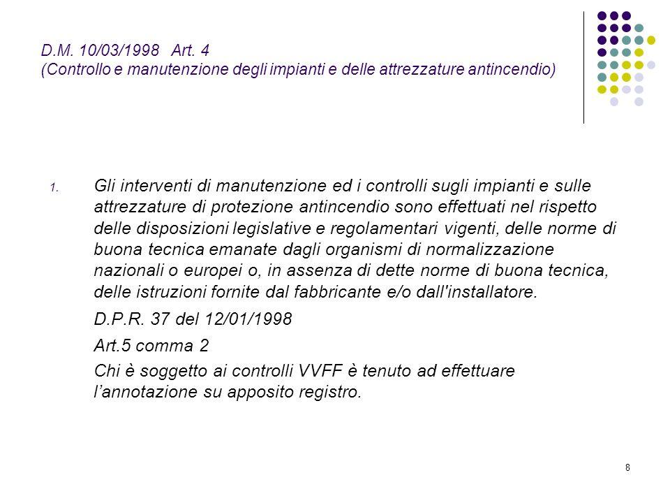 D.M. 10/03/1998 Art. 4 (Controllo e manutenzione degli impianti e delle attrezzature antincendio)