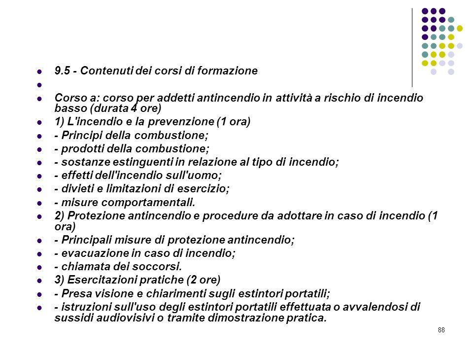 D.M. 10/03/1998 Allegato IX Pianificazione Contenuti minimi dei corsi di formazione per addetti alla prevenzione incendi, ecc..