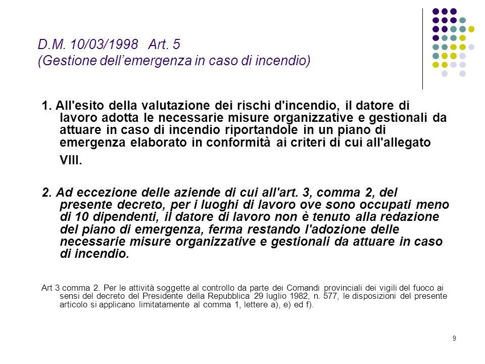D.M. 10/03/1998 Art. 5 (Gestione dell'emergenza in caso di incendio)