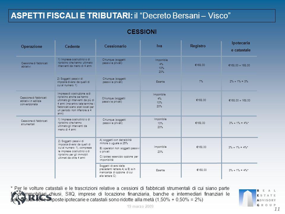ASPETTI FISCALI E TRIBUTARI: il Decreto Bersani – Visco