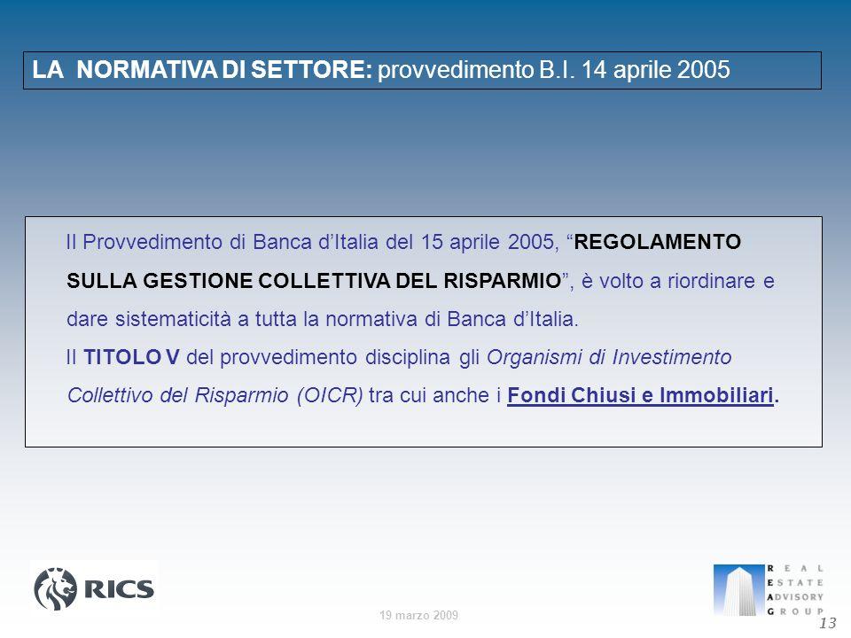 LA NORMATIVA DI SETTORE: provvedimento B.I. 14 aprile 2005