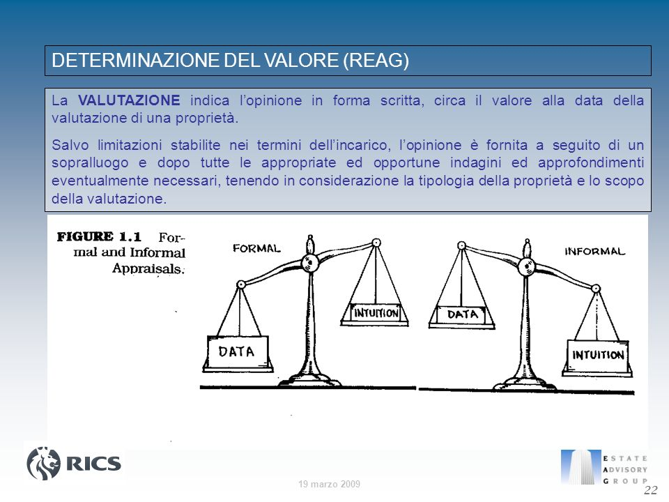 DETERMINAZIONE DEL VALORE (REAG)