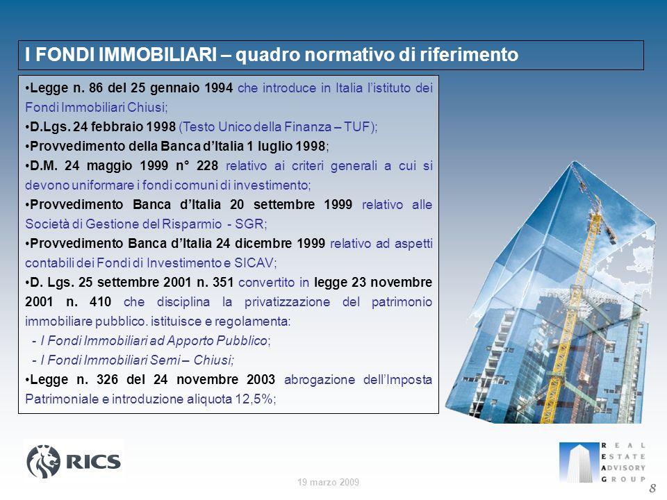 I FONDI IMMOBILIARI – quadro normativo di riferimento