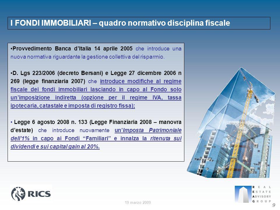 I FONDI IMMOBILIARI – quadro normativo disciplina fiscale