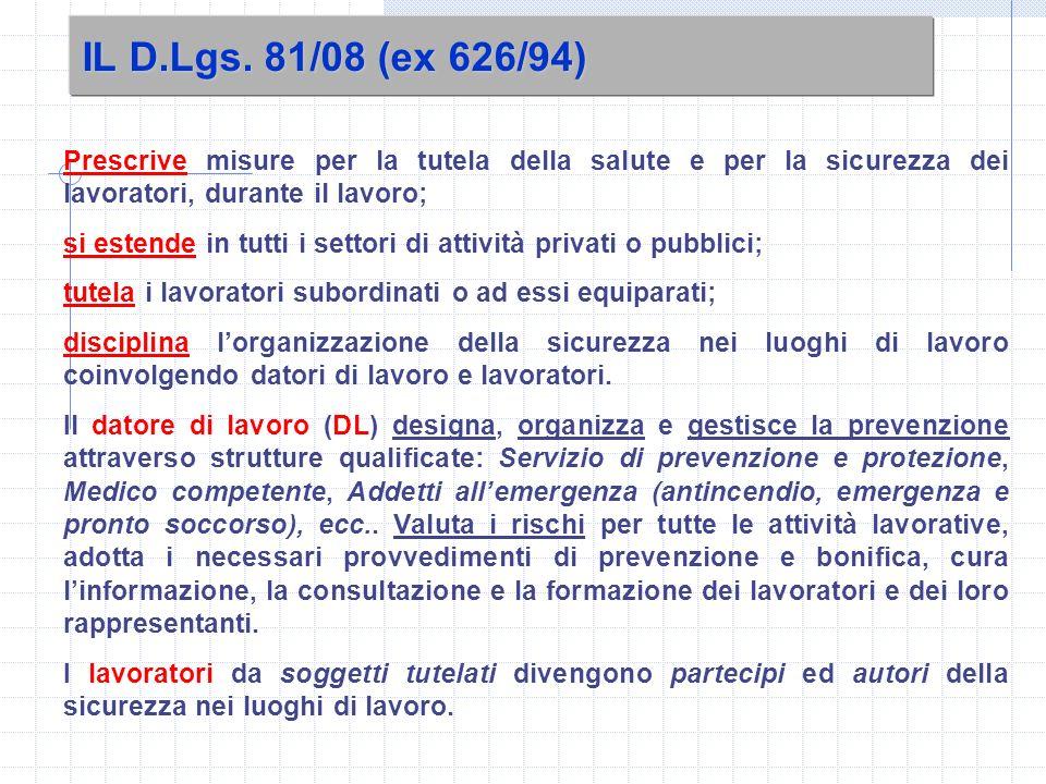 IL D.Lgs. 81/08 (ex 626/94) Prescrive misure per la tutela della salute e per la sicurezza dei lavoratori, durante il lavoro;