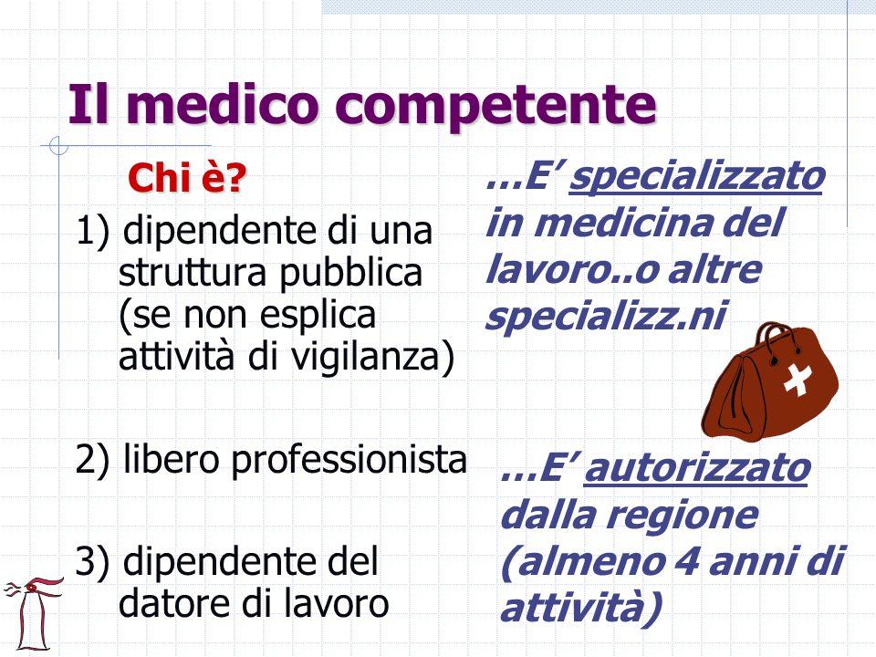 Il medico competente …E' specializzato in medicina del lavoro..o altre specializz.ni. Chi è