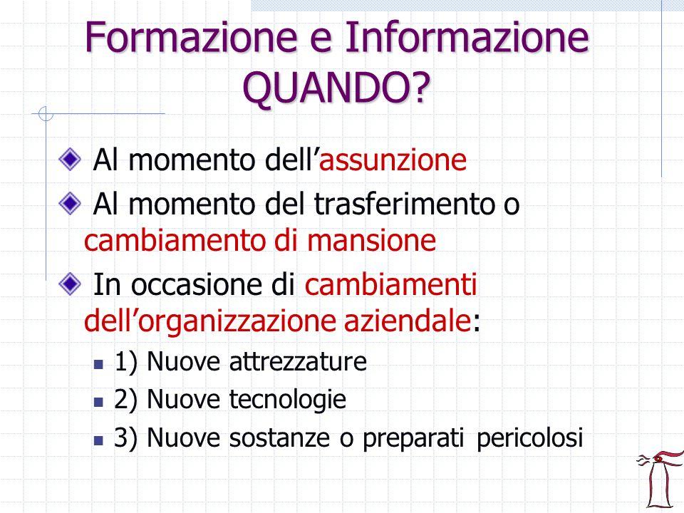 Formazione e Informazione QUANDO