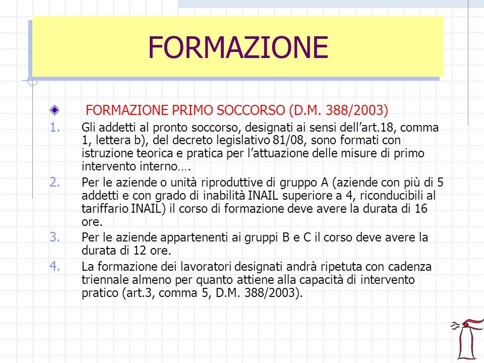FORMAZIONE FORMAZIONE PRIMO SOCCORSO (D.M. 388/2003)