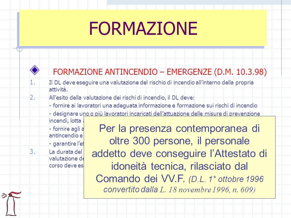 FORMAZIONE FORMAZIONE ANTINCENDIO – EMERGENZE (D.M. 10.3.98)