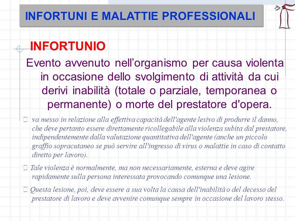 INFORTUNIO INFORTUNI E MALATTIE PROFESSIONALI