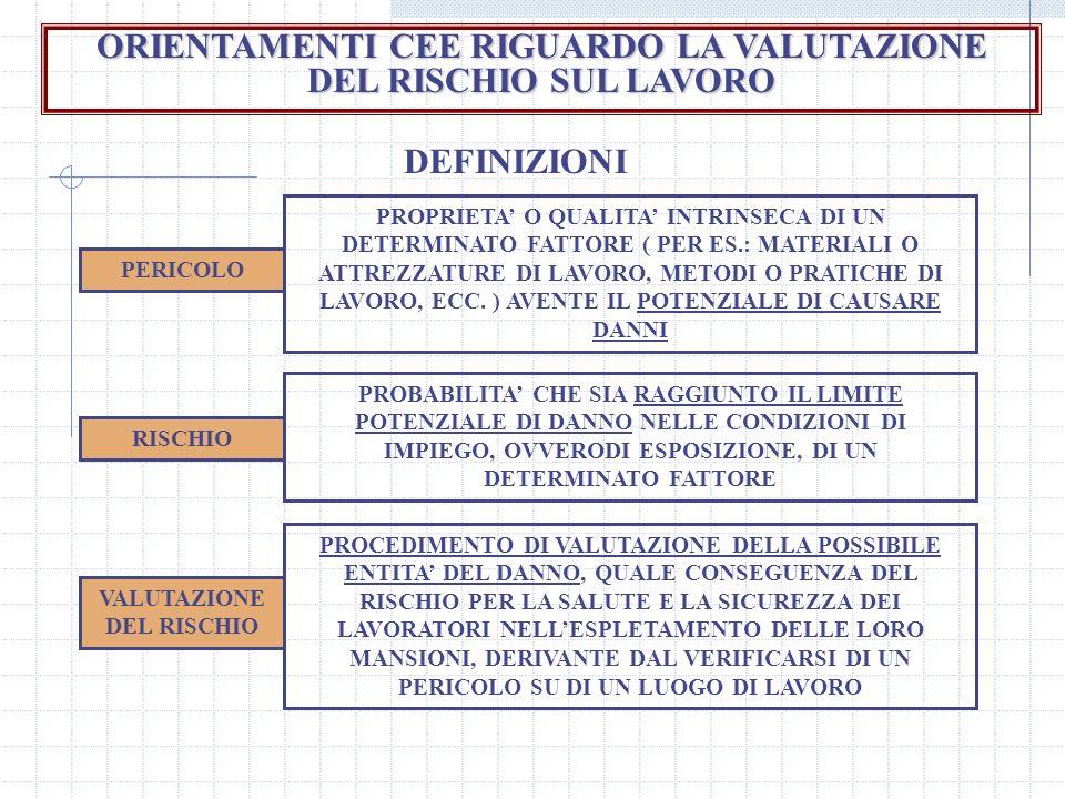ORIENTAMENTI CEE RIGUARDO LA VALUTAZIONE DEL RISCHIO SUL LAVORO