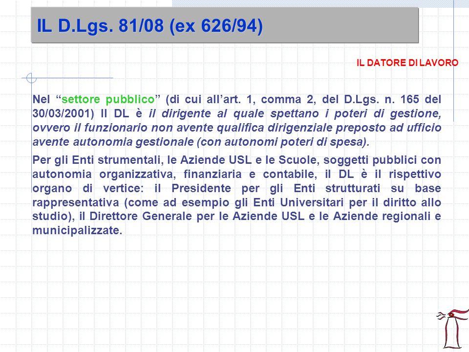 IL D.Lgs. 81/08 (ex 626/94) IL DATORE DI LAVORO.