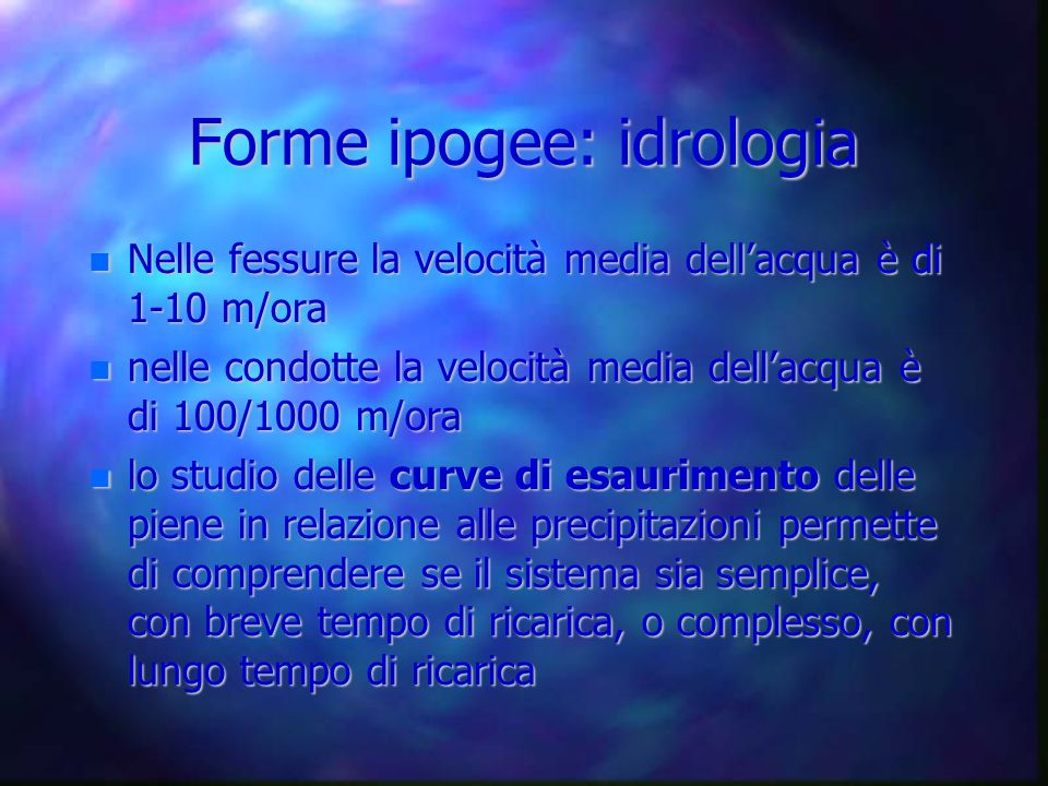 Forme ipogee: idrologia