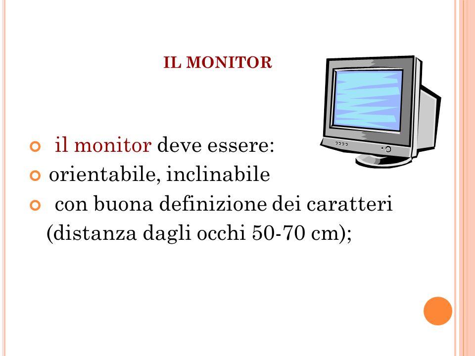 il monitor deve essere: orientabile, inclinabile