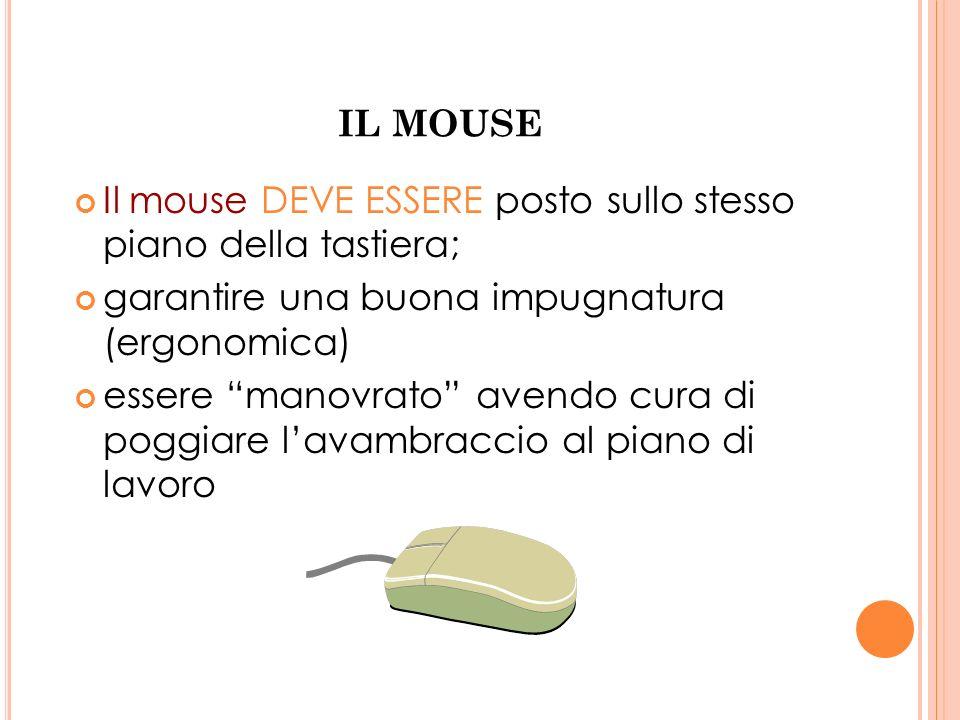 IL MOUSE Il mouse DEVE ESSERE posto sullo stesso piano della tastiera; garantire una buona impugnatura (ergonomica)