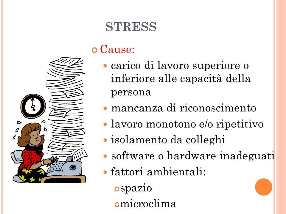 29/03/2017 STRESS. Cause: carico di lavoro superiore o inferiore alle capacità della persona. mancanza di riconoscimento.