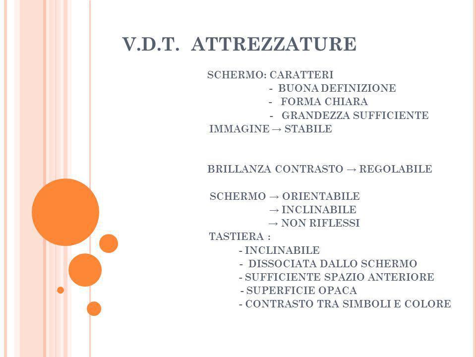 V.D.T. ATTREZZATURE SCHERMO: CARATTERI - BUONA DEFINIZIONE