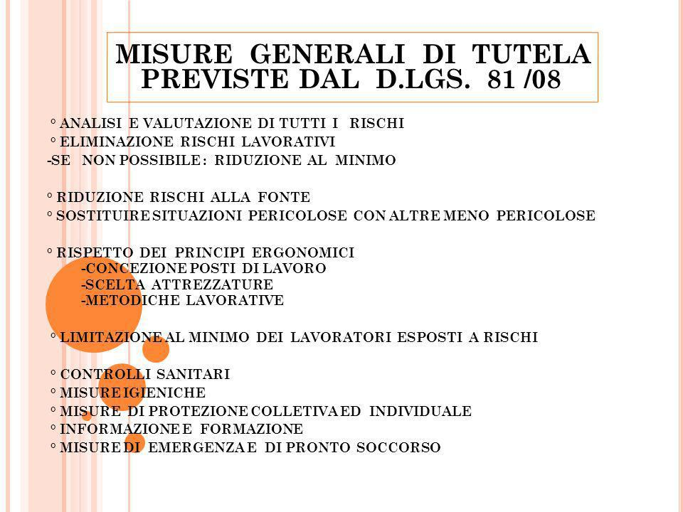 MISURE GENERALI DI TUTELA PREVISTE DAL D.LGS. 81 /08