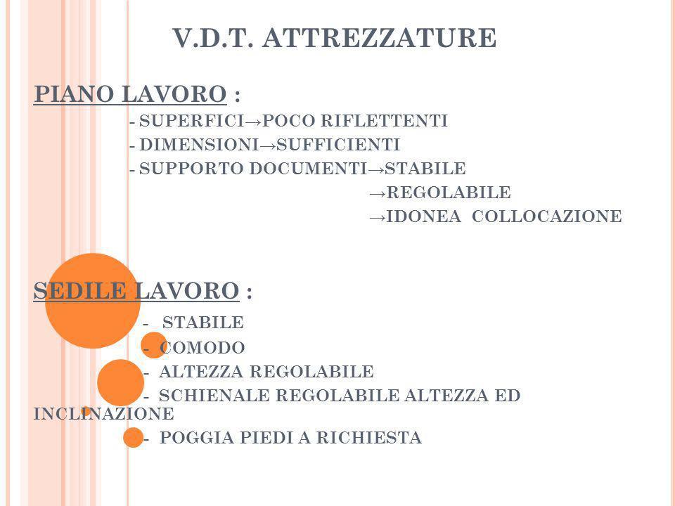 V.D.T. ATTREZZATURE PIANO LAVORO : SEDILE LAVORO : - STABILE