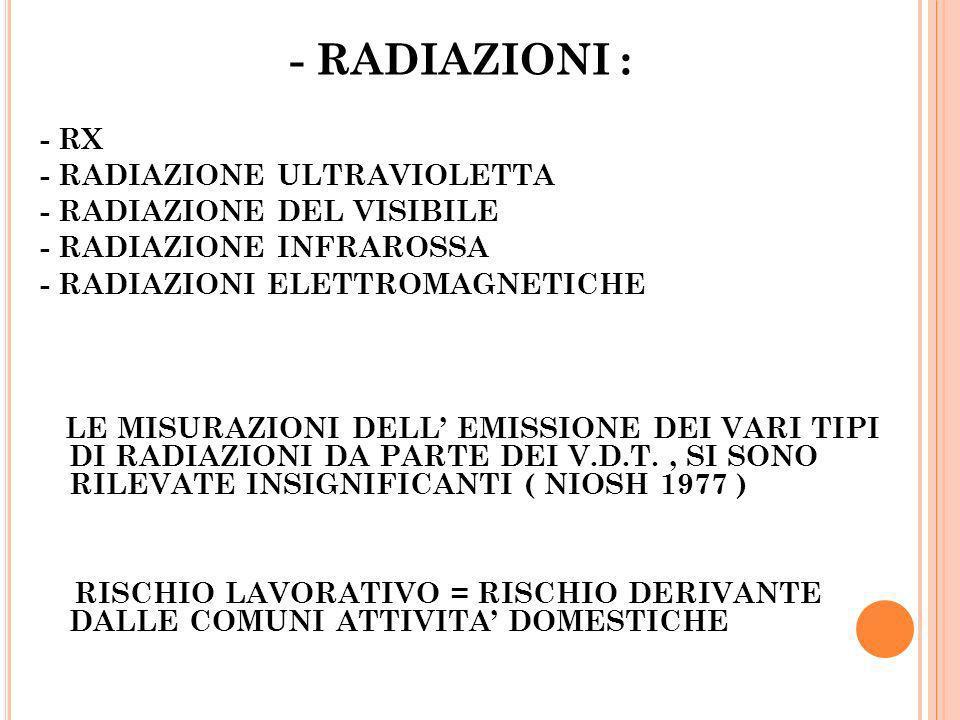 - RADIAZIONI : - RX - RADIAZIONE ULTRAVIOLETTA