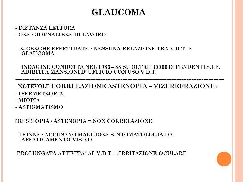 GLAUCOMA - DISTANZA LETTURA - ORE GIORNALIERE DI LAVORO