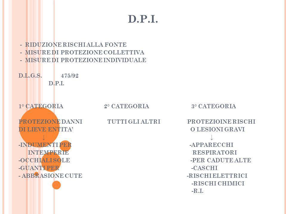 D.P.I. - RIDUZIONE RISCHI ALLA FONTE - MISURE DI PROTEZIONE COLLETTIVA