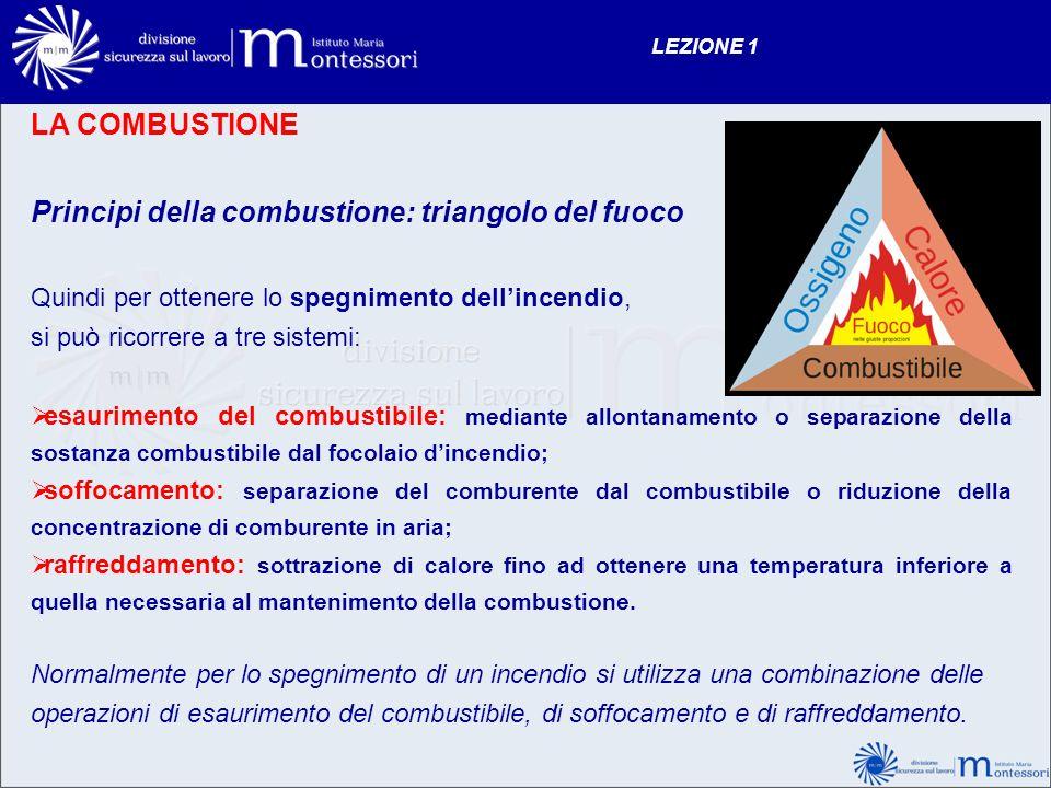 Principi della combustione: triangolo del fuoco