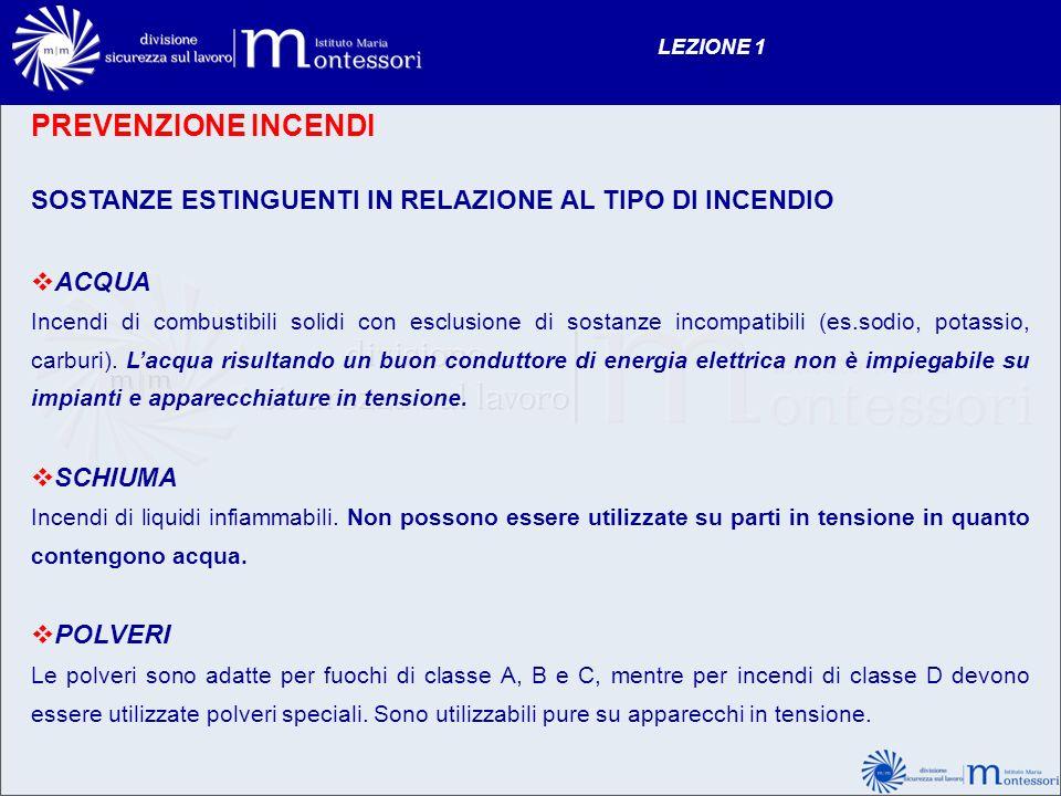 LEZIONE 1 PREVENZIONE INCENDI. SOSTANZE ESTINGUENTI IN RELAZIONE AL TIPO DI INCENDIO. ACQUA.