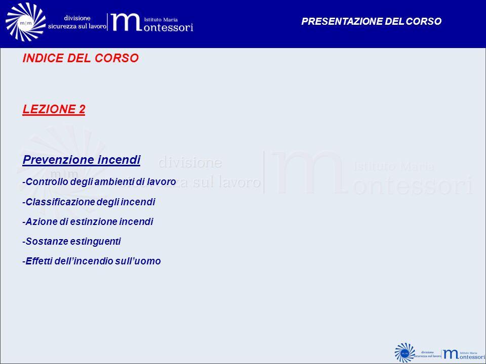 INDICE DEL CORSO LEZIONE 2 Prevenzione incendi PRESENTAZIONE DEL CORSO
