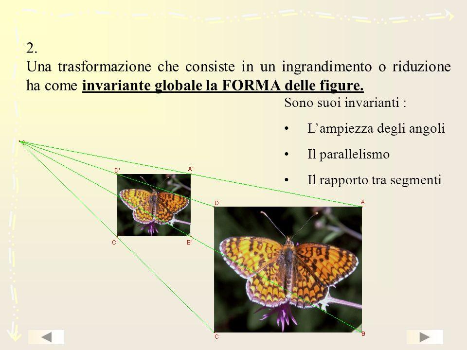 2. Una trasformazione che consiste in un ingrandimento o riduzione ha come invariante globale la FORMA delle figure.