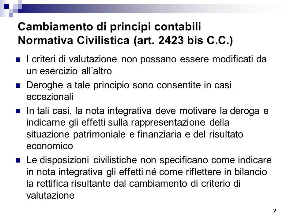 Cambiamento di principi contabili Normativa Civilistica (art