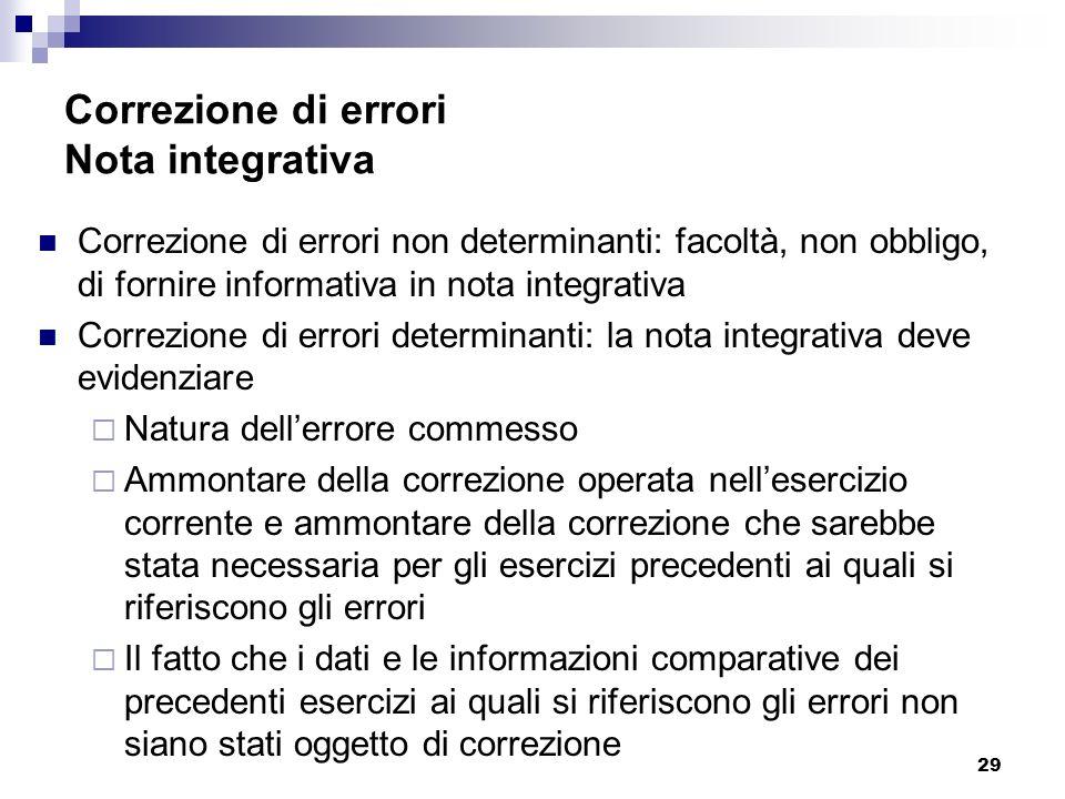 Correzione di errori Nota integrativa