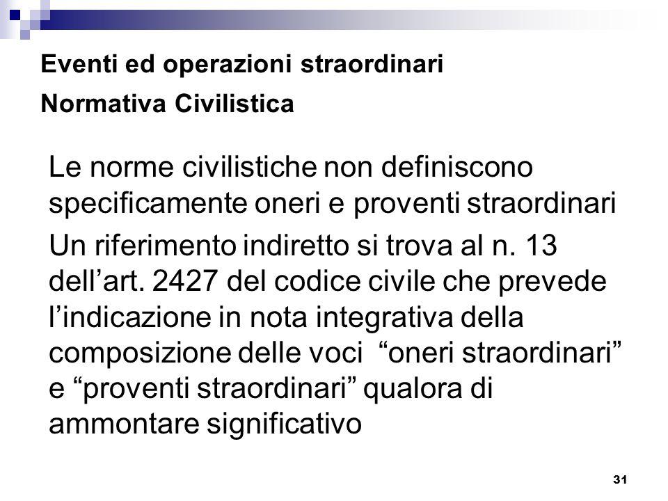 Eventi ed operazioni straordinari Normativa Civilistica