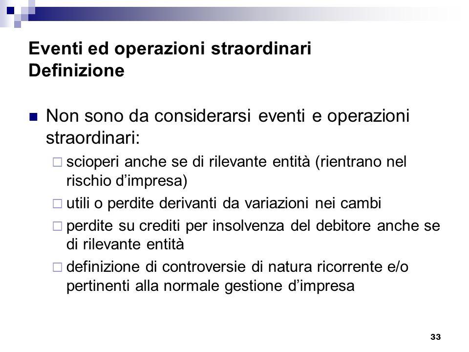 Eventi ed operazioni straordinari Definizione
